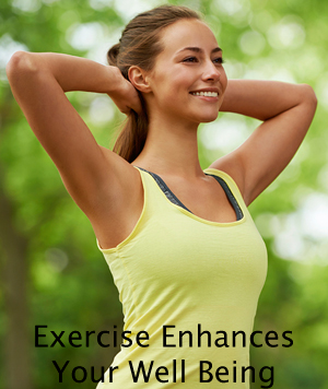 Exercise enhances your self confidence by improving your well being.
