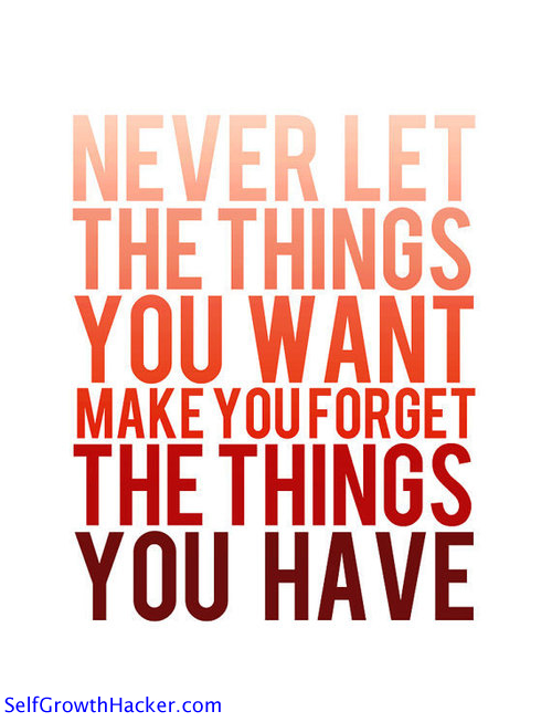 "Gratitude Quotes - ""Never let the things you want make you forget the things you have."""